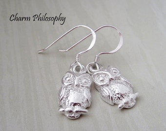Owl Earrings - 925 Sterling Silver Jewelry - Small Lightweight Owl Charms - Matching Jewelry