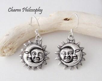Sun and Moon Earrings - 925 Sterling Silver Jewelry - Shepherd Hooks