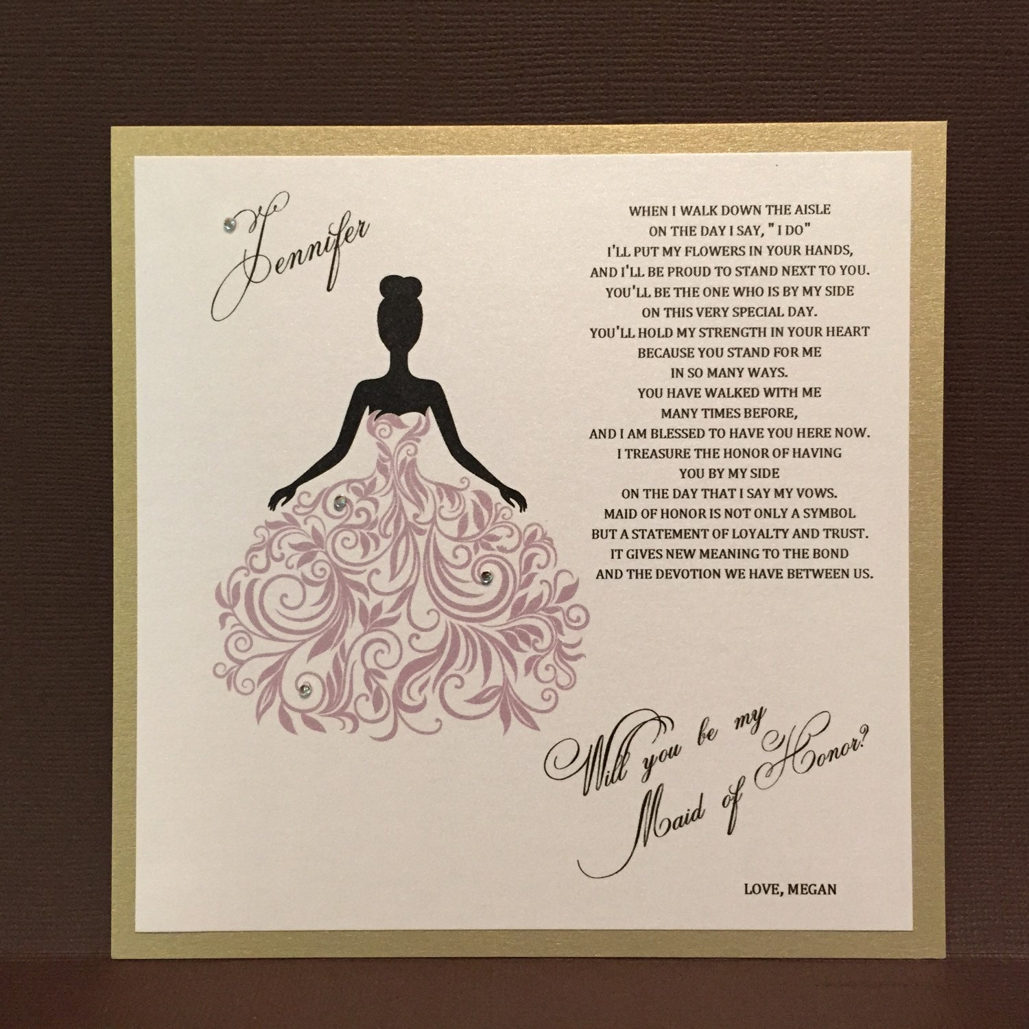 Custom Will You Be My Maid Of Honor Cards / Bridesmaid Flower