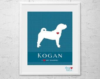 Sharpei Dog Silhouette - Personalized 8x10 Dog Art Print