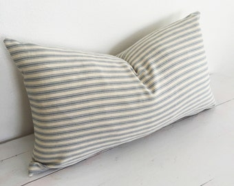 Light Blue and Natural Colored Ticking Stripe Lumbar Pillow // 11 x 19