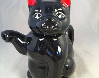 Black Cat/Kitten with Red Ears Single Serving Teapot Vintage Collectible Gift Kitsch Retro Country Nostalgia Kitchen