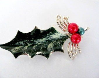 Vintage Christmas Brooch, 1970's Holly Leaf Brooch, Pin, Christmas Pin, Holly Pin, 1970's Christmas, Holiday Jewelry