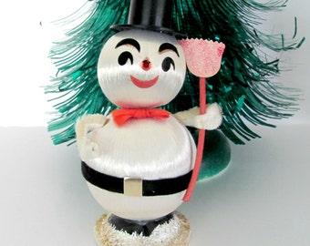 Vintage Christmas Snowman, 1960's Snowman Figurine, Satin Ball Snowman, Kitsch, 1960's Christmas Decor, Decoration, Mid Century