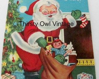 Digital Download, Vintage Christmas Image, 1950's Pollyanna Christmas Card, Vintage Santa Image, Printable Image, Scrapbooking
