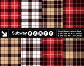 Lumberjack Flannel Tartan Plaid in Red, Black, Khaki & White. Invite Card DIY / Scrapbook Digital Papers 8.5x11 / 12x12 jpg INSTANT DOWNLOAD