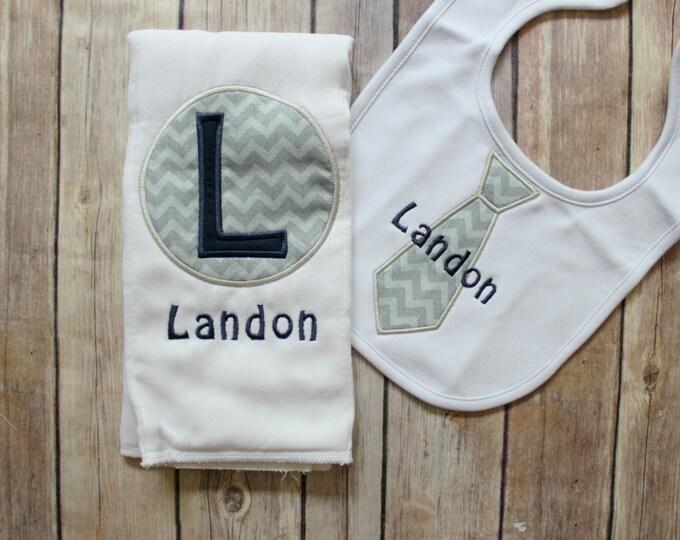 Baby Boy Personalized Burp Cloth Bib Set, Monogrammed Baby Boy Gift, Custom Embroidered Burp Cloth Set, Applique Burp Cloth, Tie Bib