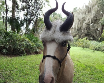 Antelope Horse Horns - Addax Horns for Horse or Pony with Faux Antelope Fur Hat - Halloween Costume for Horses, Equine Costume