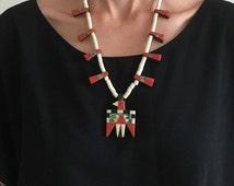 Depression Era Santo Domingo Pueblo Thunderbird Necklace