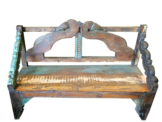 Items similar to vintage distressed indoor outdoor teak for Outdoor furniture india
