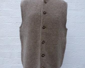 Vintage mens clothing sleeveless jacket 70s wool waistcoat fashion city waistcoat brown urban indie top mens wool vest ecofriendly winter.