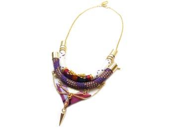 EIRA - statement geometric necklace, bib necklace, graphic necklace, colorful necklace, edgy necklace, ethnic chic necklace, boho chic
