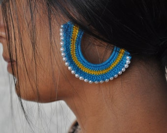 Hoops, Statement Earrings, Beaded Jewelry, Crochet Earrings, Blue and Yellow Earrings