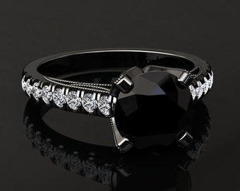 Natural Black Diamond Engagement Ring Black Diamond Ring 14k or 18k Black Gold Matching Wedding Band Available W4BKDBK