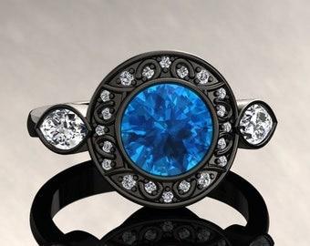 Blue Topaz Halo Engagement Ring Blue Topaz Ring 14k or 18k Black Gold W19BU2BK