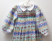 Vintage Heather Brown playsuit with hand-smocked detail, age 12 months