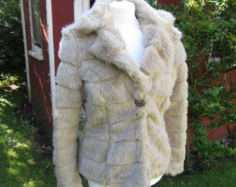 Vintage faux fur jacket approx UK 8 - 10 jewelled button fastening