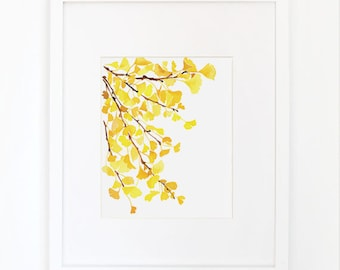 Yellow Ginkgo - Watercolor Art Print