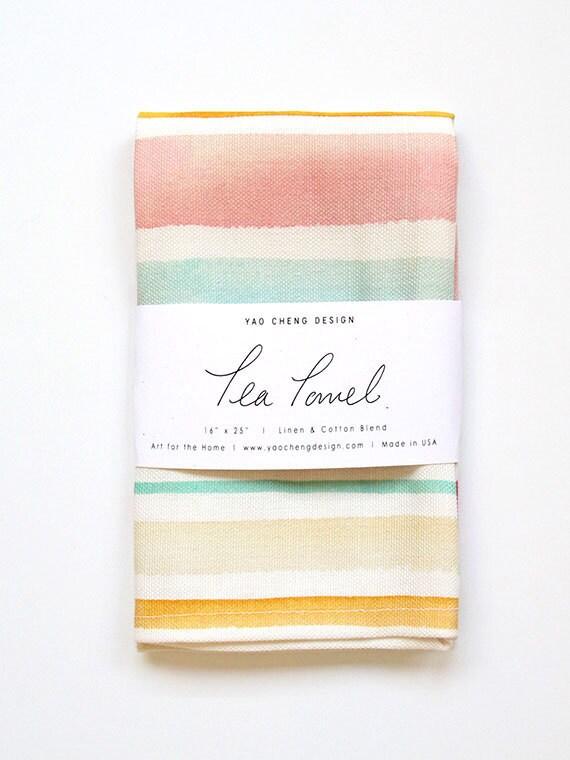 Summertime Stripe- Watercolor Tea Towel