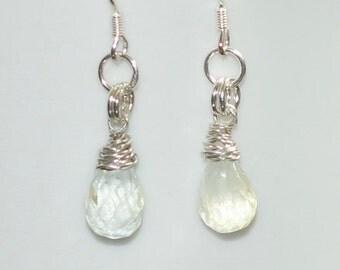 Aqua Blue Topaz Peardrop Earrings on Sterling Silver Earwires - November's Birthstone