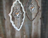 Antiqued Silver Frame Earrings with Heart Charm, Western Earrings, Boho Style Earrings
