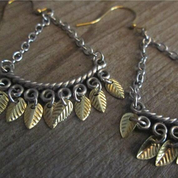 Metal Earrings, Silver Earrings, Mix Metal Chandelier Earrings, Western Earrings, Boho Style Earrings