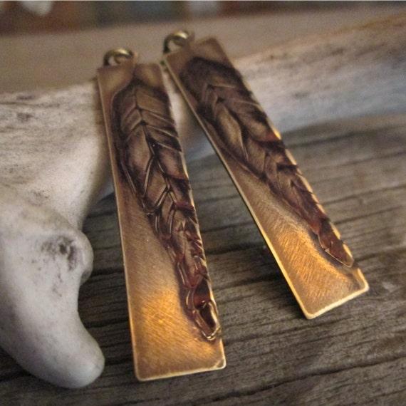 Metal Earrings, Brass Earrings, Leaf Earrings, Embossed Earrings, Earrings