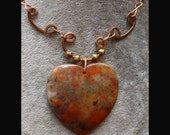 Heart Stone. Red agate heart pendant necklace / red agate necklace / red agate pendant / agate pendant necklace-NPC1504 Free shipping!