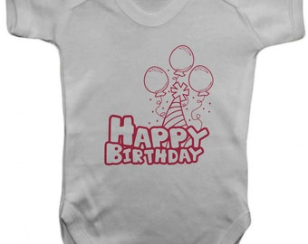 Happy Birthday -Baby Bodysuit -  Vest,Baby Grow,,Baby One Piece,Baby Clothes,Bodysuit, baby onesie,100% Cotton - Silkscreen