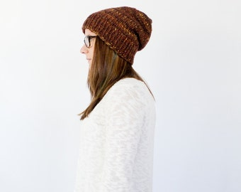 slouchy chunky knit beanie || the ELLIS || shown in sequoia