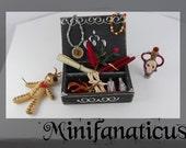 The Hoodoo Box 1:12th- Voodoo kit, magic spell box, pin cushion doll, voodoo potion, black magic set, folk magic, unique dollhouse, orleans