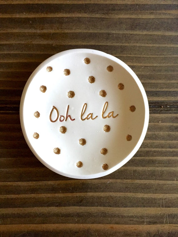 Ooh la la Jewelry Dish gold lettering, earrings, necklace holder, gold jewelry dish, wedding gift, kate spade inspired, polka dot