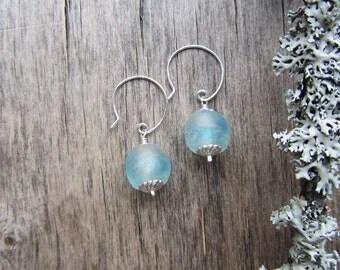 TOUCH OF ICE Short dangle earrings Ice blue earrings Silver earrings Short earrings Short glass earrings Casual earrings Everyday jewelry
