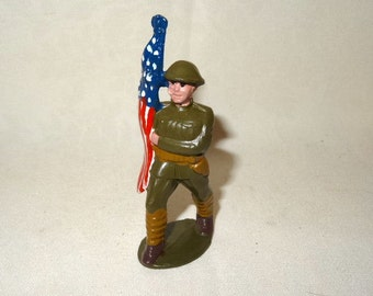 REDUCED Toy Soldier Flag Bearer WWI