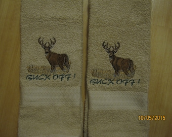 New 2 BUCK DEER Tan Hand Towels, Cabin Lodge Decor, Northwoods, Whitetail Deer