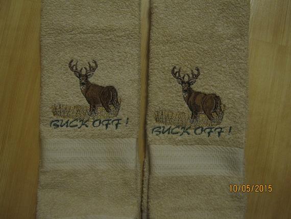 New 2 Buck Deer Tan Hand Towels Cabin Lodge Decor