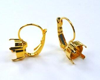 39ss Earring Setting Leaver Back Drop 8mm Gold Plating for Swarovski 1088 1 Pair