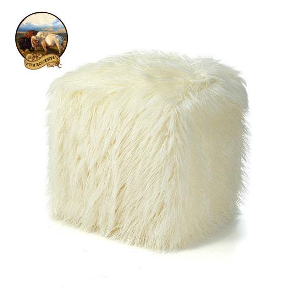 FUR ACCENTS Faux Fur Shag Ottoman Footstool Block by FurAccents