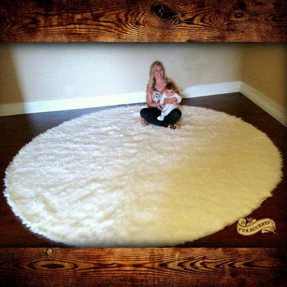 Shag Sheepskin Deer Skin Round Faux Fur Area Rug / Fake Fur