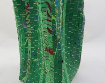 Baskets, paper baskets, wire, beads, contemporary, woven, weaving, fiber art, art