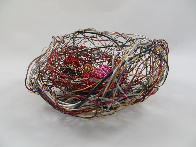 Basket Weaving Fiber : Baskets wire woven weaving contemporary nest fiber art