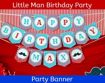 FREE SHIPPING Little Man Mustache Party Banner | Mustache Birthday Banner | Barbershop Birthday | Birthday Party Banner