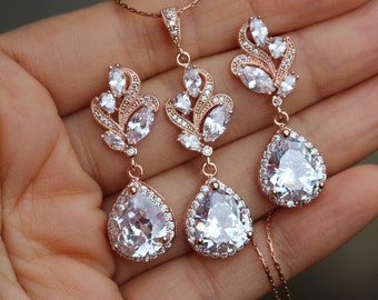 rose gold jewelry set bridal jewelry set wedding jewelry set bridal earring