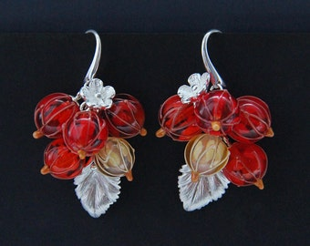 Glass lampwork red currant earrings with flowers and leaves. Red color.