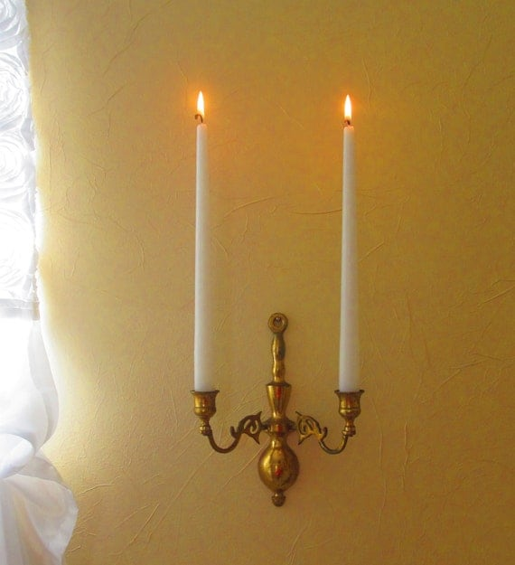 Double Candle Wall Sconces : Solid Brass Double Arm Wall Sconce by ThePrettyVintageShop on Etsy