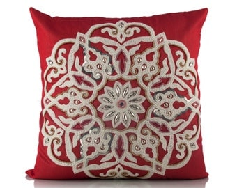 Embroidered Decorative Pillow / Cushion Cover 12X12 14X14 16X16 18X18