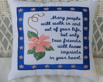 Friends Pillow - Embroidered Pillows - Accent Pillow - Christmas gift - Friends gift - 12x12 Pillow - Friends going away gift