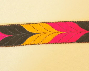 Yellow, Black And Fuchsia Pink Thread Embroidered Lace Trim, 33mm wide - 140316L182D