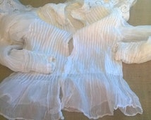 Collectible Victorian Muslin Blouse Pleated 1850s French Handmade White Cotton Long Sleeve Clothing for Costume Sewing