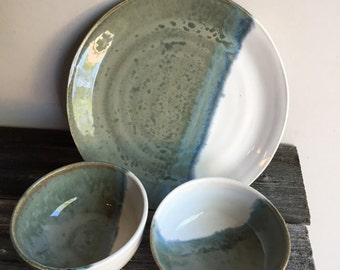 Platter Serve ware snacks Dinnerware set large plate and two bowls